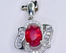 14.69 Crt Natural Ruby 925 Sterling Silver Pendant