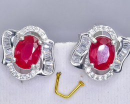 34.44 Crt Natural Ruby 925 Sterling Silver Earrings