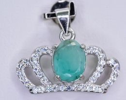 12.32 Crt Natural Emerald 925 Sterling Silver Pendant