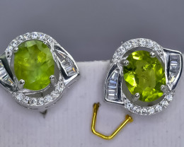 29.20 Crt Natural Peridot 925 Sterling Silver Earrings