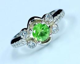 1.01 Ct Natural Tsavarite Garnet Beautifulist Silver 925 Ring.DTS 54