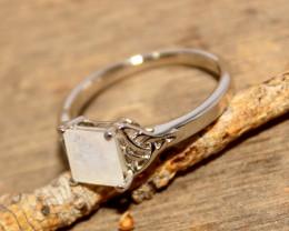 Natural Moonstone 925 Silver Ring 454