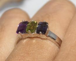 Natural Amethyst & Peridot 925 Silver Ring 401