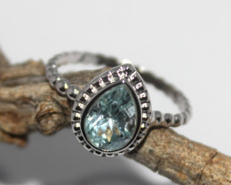 Natural Blue Topaz 925 Silver Ring 438