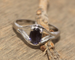 Natural Iolite 925 Silver Ring 400