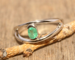 Natural Emerald 925 Silver Ring 466
