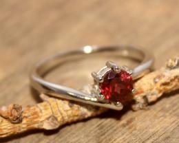 Natural Garnet 925 Silver Ring 486