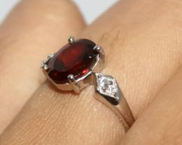 Natural Garnet 925 Silver Ring 411