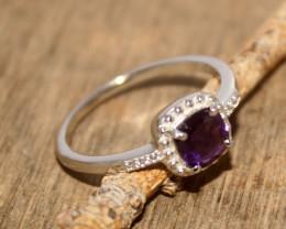 Natural Amethyst 925 Silver Ring 478