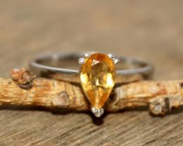 Natural Citrine 925 Silver Ring 405