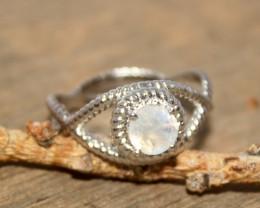Natural Moonstone 925 Silver Ring 395