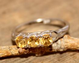 Natural Citrine 925 Silver Ring 487