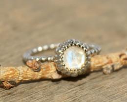 Natural Rainbow Moonstone 925 Silver Ring 448