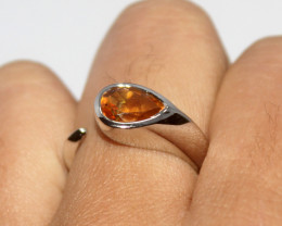 Natural Citrine 925 Silver Ring 446