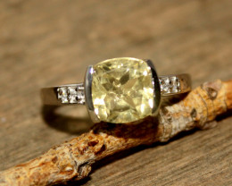 Natural Lemon Quartz 925 Silver Ring 430
