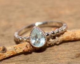 Natural Topaz 925 Silver Ring 458