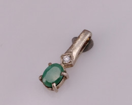 Natural Emerald And CZ Pendant.