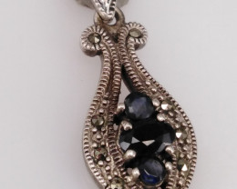 Natural Sapphire And CZ Pendant.