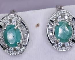 10.34 Crt Natural Emerald 925 Silver Earrings