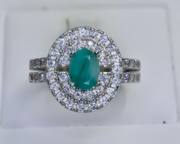 28.32 Crt Natural Emerald 925 Silver Ring