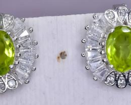 27.52 Crt Natural Peridot  925 Silver Earrings