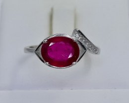 12.57 Crt Natural Composite Ruby 925 Silver Ring