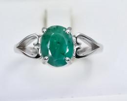 13.74 Crt Natural Emerald 925 Silver Ring