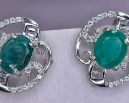 31.62 Crt Natural Emerald 925 Silver Earrings