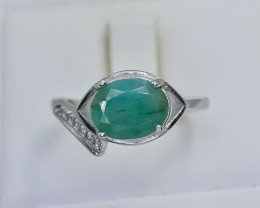 13.08 Crt Natural Emerald 925 Silver Ring