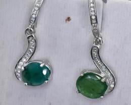 20.05 Crt Natural Emerald 925 Silver Earrings