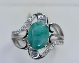 20.86 Crt Natural Emerald 925 Silver Ring