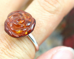 Natural Baltic Amber Sterling Silver Adjustable Ring size 8 code GI 690