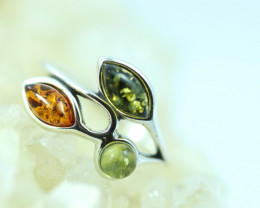Natural Baltic Amber Sterling Silver Ring size 5 code GI 714