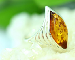 Natural Baltic Amber Sterling Silver Ring size 8 code GI 740