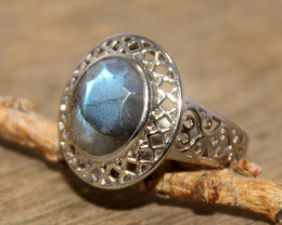 Natural Labradorite 925 Silver Ring 423