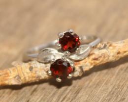 Natural Garnet 925 Silver Ring 469