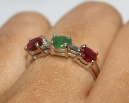 Natural Emerald & Ruby 925 Silver Ring 394