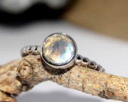 Natural Labradorite 925 Silver Ring 412