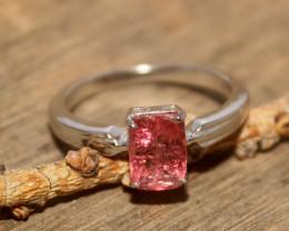 Natural Pink Tourmaline 925 Silver Ring 489