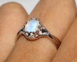 Natural Rainbow Moonstone 925 Silver Ring 429