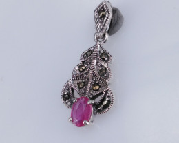 Natural Ruby And CZ Pendant.