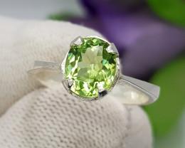 Natural Green Peridot 13.45 Carats Hand Made Silver Ring