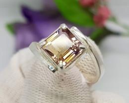 Natural Bio Color Ametrine 14.90 Carats Hand Made Silver Ring