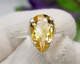 Natural Yellow Citrine 14.20 Carats Hand Made Silver Ring