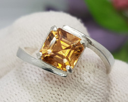 Natural Imperial Topaz 13.30 Carats Hand Made Silver Ring