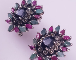 Natural Emereld, Ruby And Sapphire Earrings