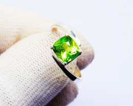 Natural Green Chrysolite (Peridot) In Sterling Silver Ring Handmade