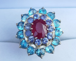 New Beautiful Style Topaz With Ruby And Tanzanite Ring