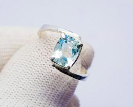 Natural Blue Aquamarine Ring  Sterling Silver Handmade Silver Ring
