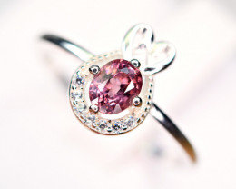 Natural top Burmese Top Color lustrous Spinel ,CZ 925 Silver Ring#4